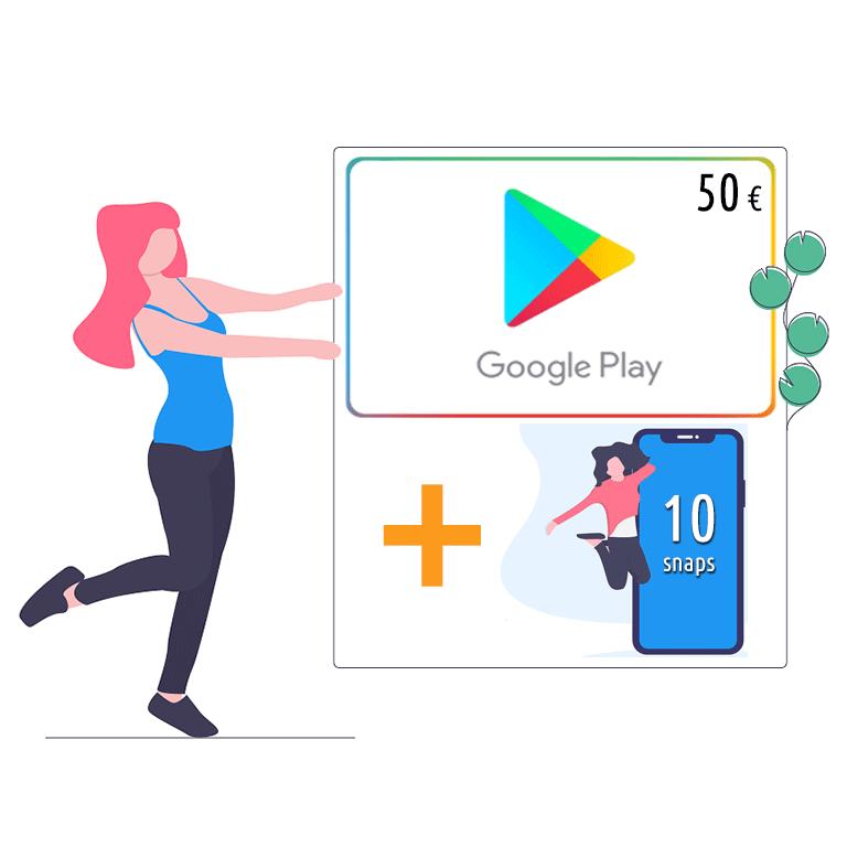 Google play card da 50 € + 10 snaps   Asta online sicura e affidabile su Baazr