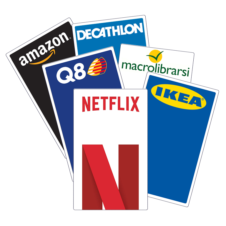 Buono a scelta da 300€: Amazon, Q8, Netflix, Decathlon, Ikea, Macrolibrarsi | Asta online sicura e affidabile su Baazr