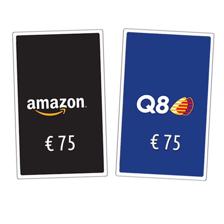 Buono da 75€ a scelta tra Amazon e Q8 | Asta online sicura e affidabile su Baazr