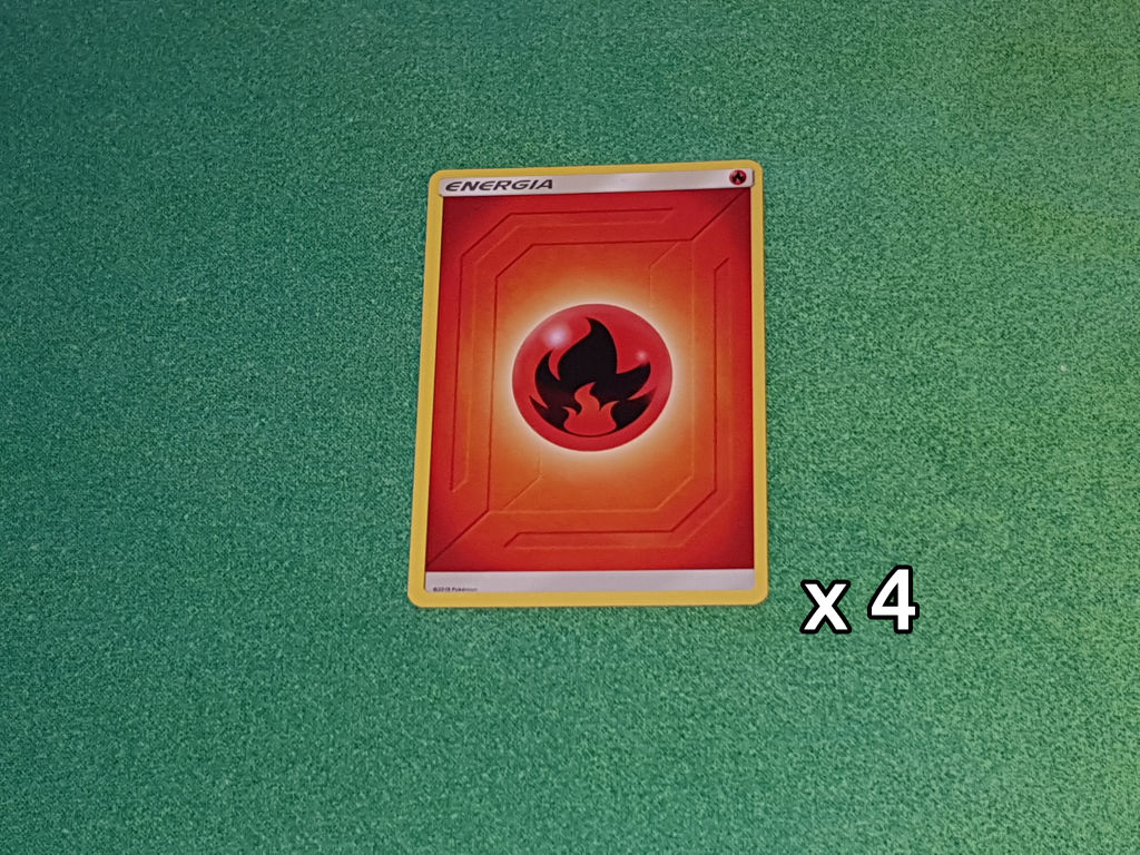 Baazr - 4 Carte Energia Base Fuoco - Pokemon Sole Luna Gioco di Squadra - Carta in italiano