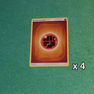 Baazr - 4 Carte Energia Base Lotta - Pokemon Sole Luna Gioco di Squadra - Carta in italiano