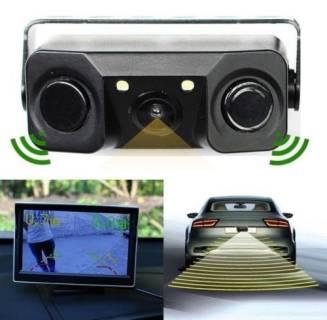 Baazr - Telecamera Retromarcia Con Sensore Di Parcheggio 2 LED Angolo 170 Gradi Notturna