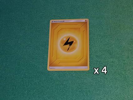 Baazr - 4 carte Energia Base Elettro - Pokemon Sole Luna Gioco di Squadra - Carta in italiano